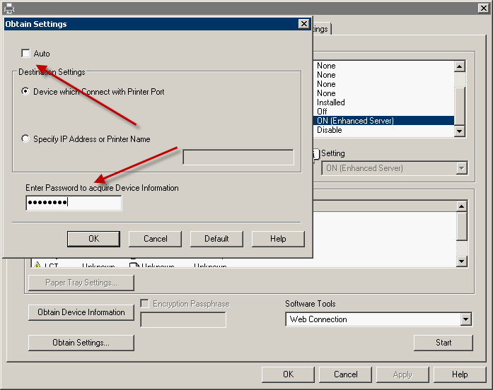Allowing printing without authentication on a Konica Minolta